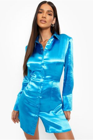 Boohoo Kort Skjortklänning I Satin, Blue