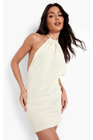 Boohoo Beach Backless Halter Neck Dress, White