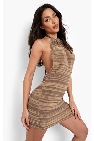Boohoo Beach Backless Halter Neck Dress, Brown