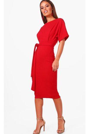 Boohoo Petite Recycled Tie Waist Wiggle Midi Dress, Red