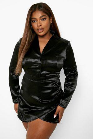 Boohoo Plus - Skjortklänning I Satin Med Knappar, Black