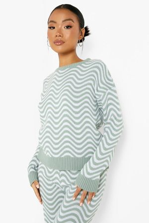 Boohoo Petite Wavy Knit Sweater And Flare Co-Ord, Green