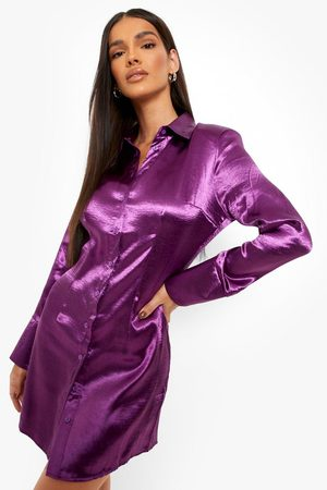 Boohoo Kort Skjortklänning I Satin, Purple