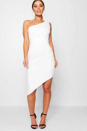Boohoo Petite Recycled Asymmetric Bodycon Dress, White