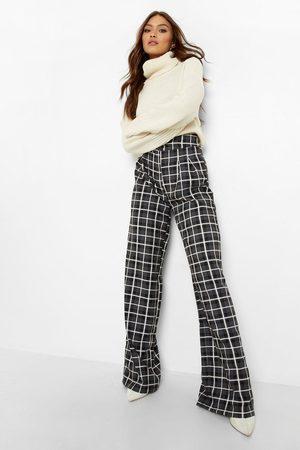 Boohoo Flannel High Waisted Woven Formal Pants, Grey
