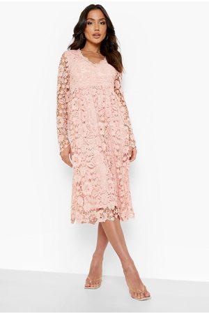 Boohoo Long Sleeve Crochet Lace Midi Skater Dress, Pink