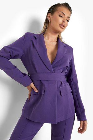 Boohoo Figurnära Kavaj Med Knytdetalj, Purple