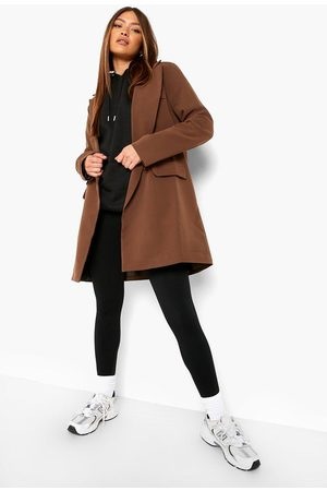 Boohoo Double Breasted Relaxed Fit Longline Blazer, Brown