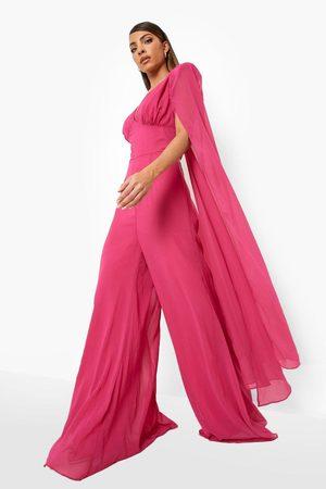 Boohoo Cape Detail Plunge Wide Leg Jumpsuit, Pink