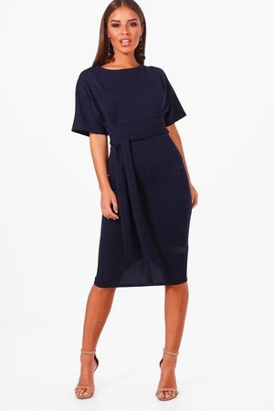 Boohoo Petite Recycled Tie Waist Wiggle Midi Dress, Blue