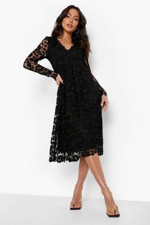Boohoo Long Sleeve Crochet Lace Midi Skater Dress, Black