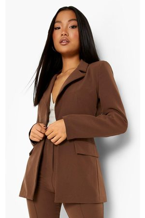 Boohoo Petite Single Breasted Tailored Blazer, Brown
