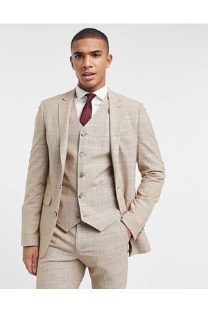 ASOS Man Kostymer - Wedding – Kamelfärgad glencheckrutig kavaj i supersmal passform, del av kostym-Neutral