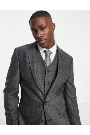 ASOS Man Kostymer - – Wedding – Mörkgrå kostymjacka i supersmal passform med fiskbensmönster