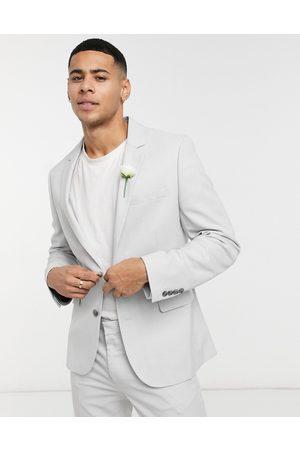 ASOS Man Kostymer - – Bröllop – Isgrå kavaj med supersmal passform och mikrostruktur, del av kostym