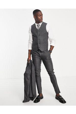 ASOS Man Kostymer - – Wedding – Mörkgrå kostymväst i supersmal passform med fiskbensmönster