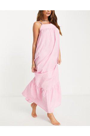 ASOS – panelsydd strandklänning i maxilängd-Pink