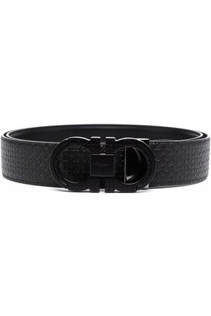 Salvatore Ferragamo Man Bälten - Double gancini textured leather belt