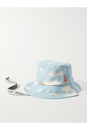 J.W.Anderson Asymmetric Logo-Embroidered Printed Cotton-Canvas Bucket Hat