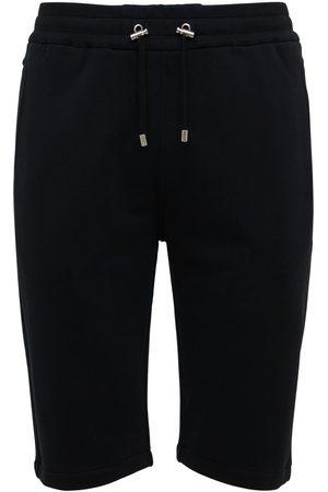 Balmain Man Sweatshirts - Flocked Logo Organic Cotton Sweat Shorts