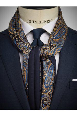 John Henric Dark Blue Wool & Silk Scarf