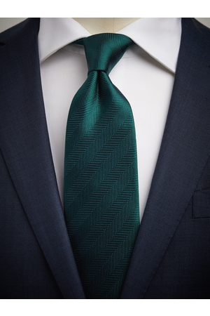 John Henric Man Slipsar - Green Tie Herringbone