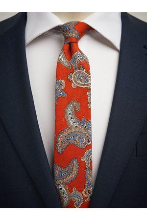 John Henric Orange Tie Wool Paisley