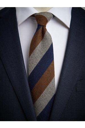 John Henric Man Slipsar - Blue & Brown Cashmere Tie