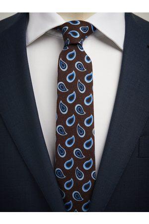 John Henric Man Slipsar - Brown Tie Wool Paisley
