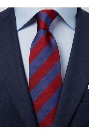 John Henric Man Slipsar - Blue & Red Tie Club Striped