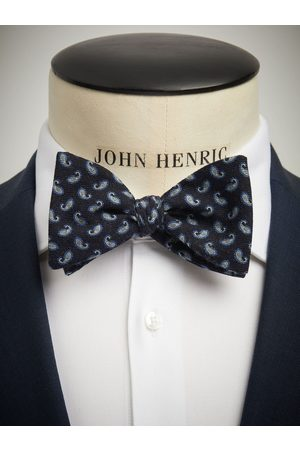John Henric Blue Bow Tie Wool Paisley