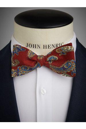 John Henric Burgundy Bow Tie Wool Paisley