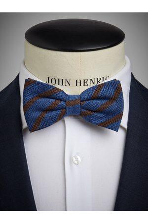 John Henric Blue Bow Tie Wool Stripe