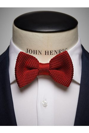 John Henric Red Knitted Bow Tie