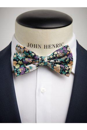 John Henric Green & Purple Bow Tie Cotton Floral