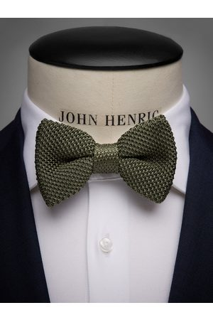 John Henric Olive Green Knitted Bow Tie