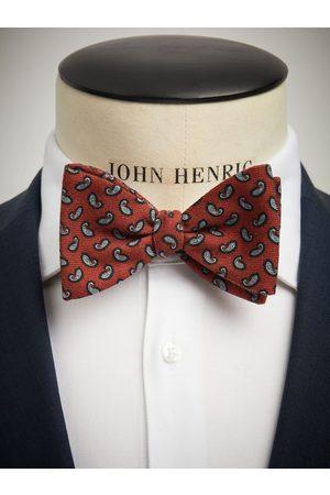John Henric Orange Bow Tie Wool Paisley