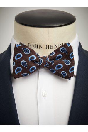 John Henric Man Flugor - Bow Tie Wool Paisley Brown