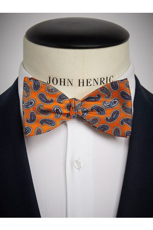 John Henric Orange Bow Tie Paisley