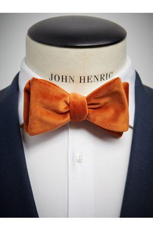 John Henric Man Flugor - Orange Velvet Bow Tie