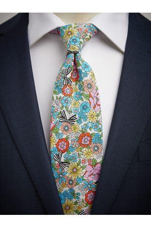John Henric Blue & Green Tie Cotton Floral