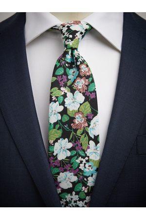 John Henric Black & Green Tie Cotton Floral