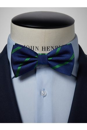 John Henric Blue & Green Striped Bow Tie