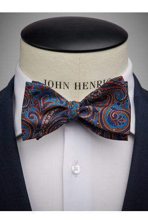 John Henric Dark Blue Bow Tie Paisley
