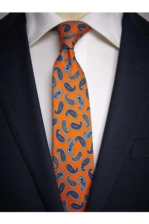 John Henric Orange Tie Paisley