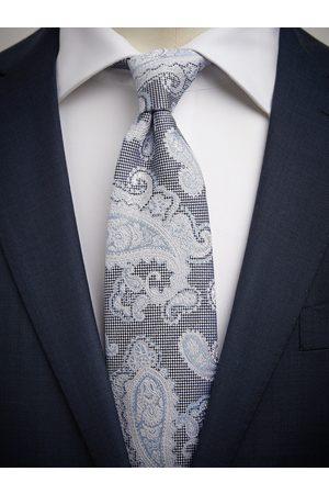 John Henric Blue Tie Linen Paisley