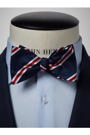 John Henric Blue & Red Striped Bow Tie