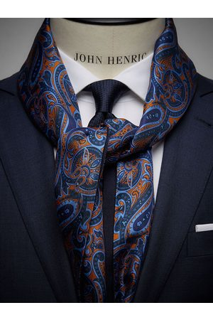 John Henric Man Sjalar - Orange Wool & Silk Scarf