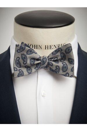 John Henric Man Flugor - Grey Bow Tie Wool Paisley