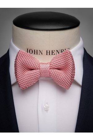 John Henric Pink Knitted Bow Tie